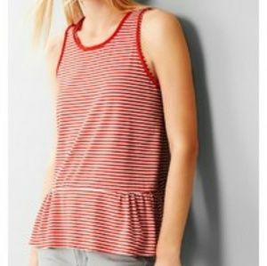 Gap Cotton Red and White Striped Peplum Tank  Top